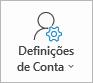 Botão Definições de conta do Outlook