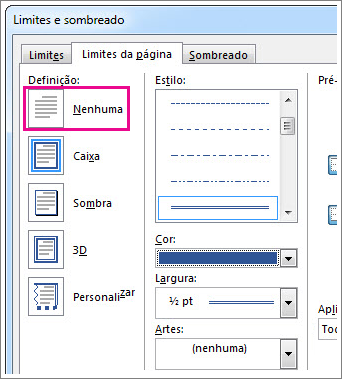 Caixa de diálogo de definições dos limites de página