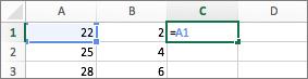 Exemplo de utilização de uma referência de célula numa fórmula
