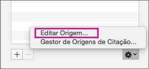 Painel Citações com a opção Editar Origem realçada.