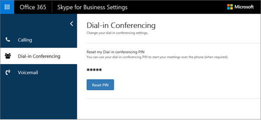 Página de definições de conferência de acesso telefónico