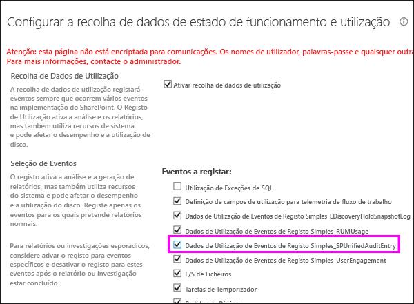 Opção para ativar os registos de utilização DLP