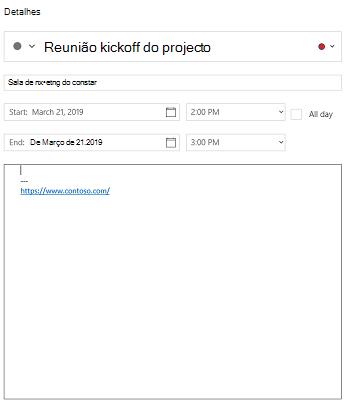 Vista detalhes do evento do calendário para Windows 10