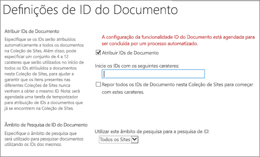 Atribuir IDs de Documento na página Definições de ID do Documento