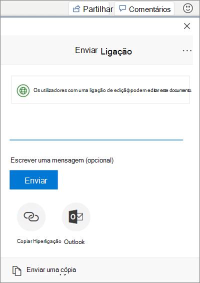 Captura de ecrã da secção de partilha de ficheiros no Word
