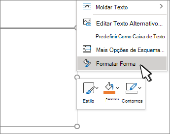Item de menu Formatar forma selecionado