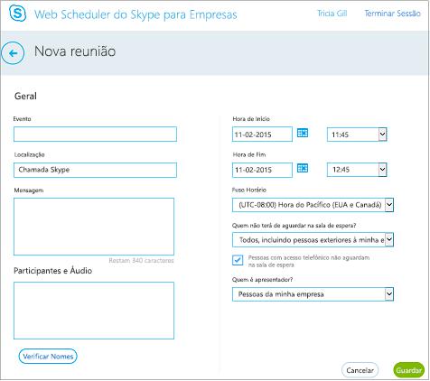 Ecrã do Web Scheduler no qual fornece detalhes da reunião e ao qual adiciona convidados