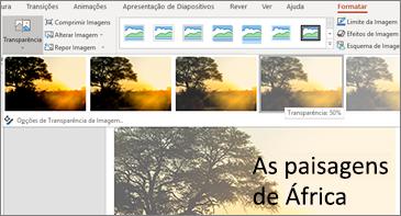 Diapositivo com as opções de transparência no separador Formatar