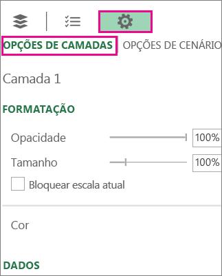 Ícone de definições no separador Opções de Camada