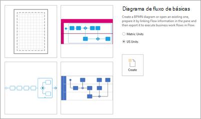 Em modelos, selecione diagrama de fluxo básico.