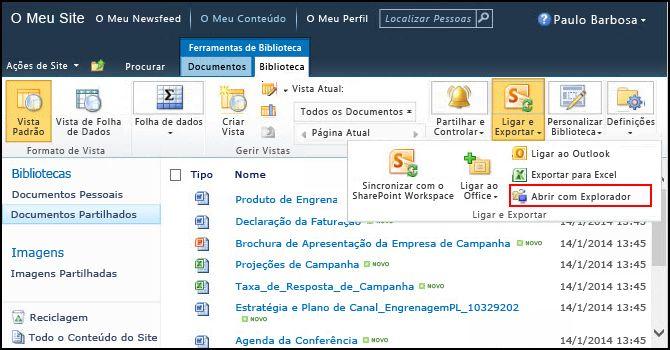 Pasta Documentos Partilhados do SharePoint 2010, opção Abrir com o Explorador