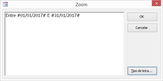 expressão na caixa de diálogo zoom.