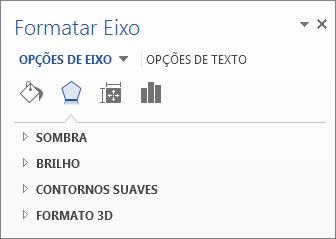 Lista de Opções de Eixo de Formatar Eixo como exemplo de edição de elementos do gráfico