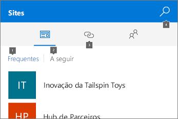 Captura de ecrã do separador Sites