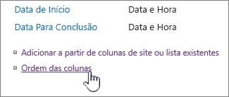 Ordem de coluna de tipo de conteúdo de lista