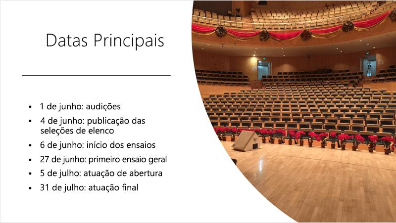 Exemplo de diapositivo com uma linha cronológica e fotografia de texto que estruturam ideias organizadas e apresentadas.