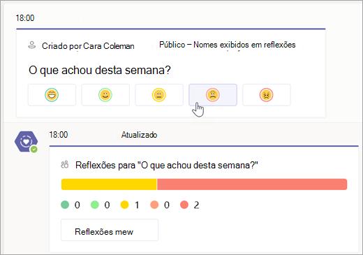 Selecione um Emoji para adicionar um check-in a uma pesquisa Refletida