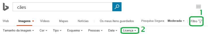 Clique no botão Filtro na margem direita da janela e, em seguida, clique no menu do filtro Licença.