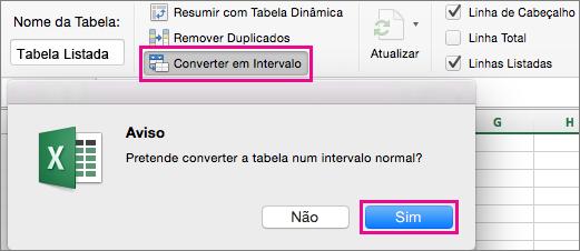 No separador Tabela, selecione Converter em Intervalo