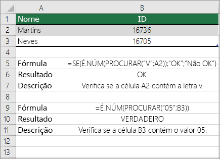 Exemplos de funções PROCURAR, É.NUM e SE
