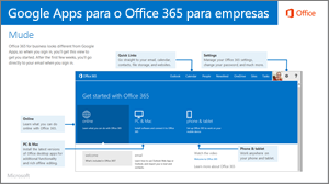 Miniatura do guia para alternar entre o Google Apps e o Office 365