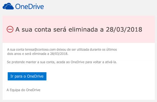 Captura de ecrã de uma mensagem de e-mail