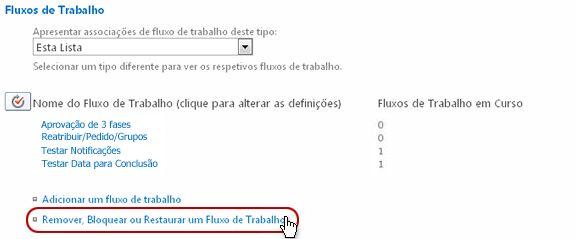Página 'Definições de fluxo de trabalho' com a ligação 'Remover um fluxo de trabalho' realçada