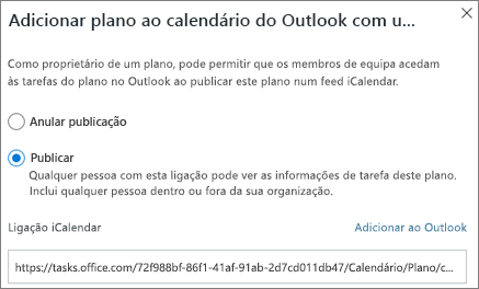 Captura de ecrã a mostrar a caixa de diálogo Adicionar plano ao calendário do Outlook