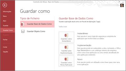 Opções Guardar Como Base de Dados no ecrã Guardar Como