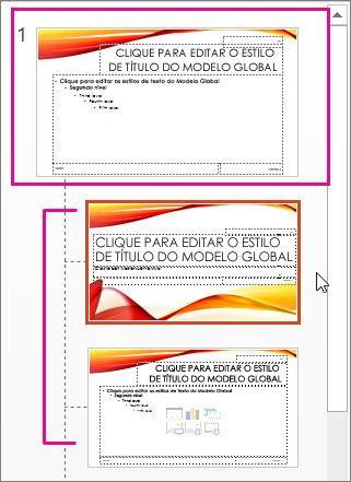 Modelo global de diapositivos e dois esquemas