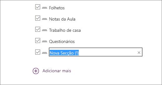 Reveja as secções do bloco de notas no Assistente do Blocos de Notas Escolares, incluindo Folhetos, Notas da Aula, Trabalho de Casa e Questionários.