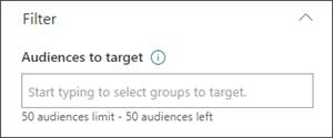 Imagem do painel Editar com a caixa de texto na qual se definem audiências de destino