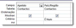 As imagens apresentam o campo dos critérios no estruturador de consulta com critério nulo