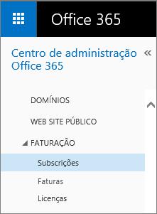 Ligação para a página Subscrições no Office 365 Pequenas Empresas Premium.