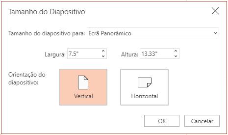 Na caixa de diálogo Tamanho do Diapositivo, pode selecionar entre uma proporção padrão ou de ecrã panorâmico e entre uma orientação horizontal ou vertical.