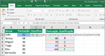 Folha de cálculo a mostrar como utilizar a função SE.S para calcular notas de estudantes