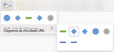 A seleção do botão 'Forma de Alteração' abre uma galeria de opções para substituir a forma selecionada.