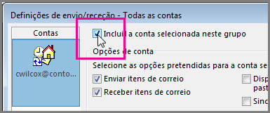Remover uma conta do grupo de Envio/Receção