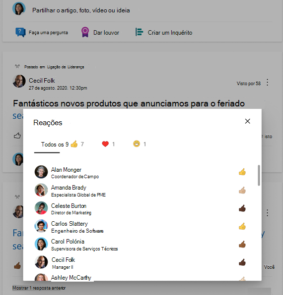 Screenshot mostrando um resumo de reações com tons de pele diversos em Yammer