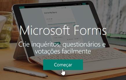 Botão Começar na home page do Microsoft Forms
