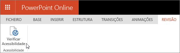 Captura de ecrã a mostrar o separador Rever com o cursor a apontar para a opção Verificar Acessibilidade.