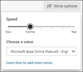 Menu de opções de voz em Read Aloud para selecionar velocidade de reprodução e tipo de voz