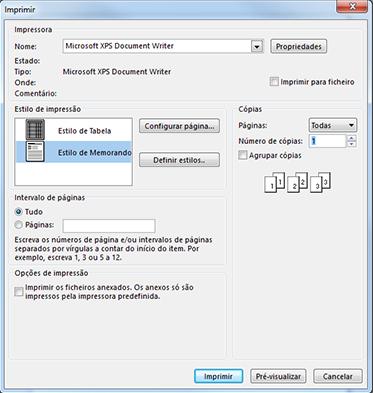 Opções de impressão da caixa de diálogo Imprimir do Outlook