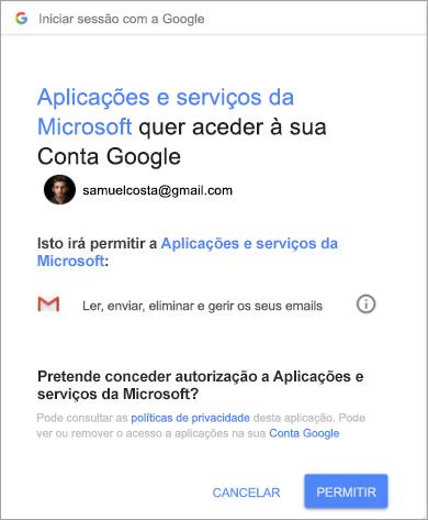 A mostrar a janela de permissões do Outlook para aceder à sua conta do Gmail