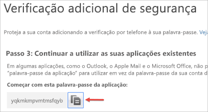 Imagem do ícone Copiar para copiar a palavra-passe de aplicação para a sua área de transferência.