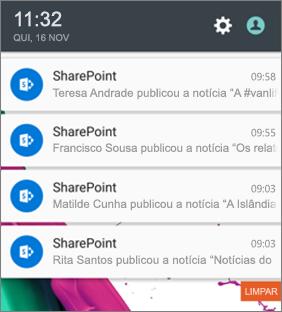 Exemplo de uma notificação de notícias num dispositivo móvel