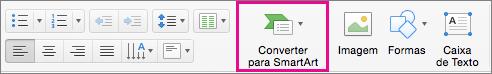 PowerPoint para Mac: Converter para SmartArt