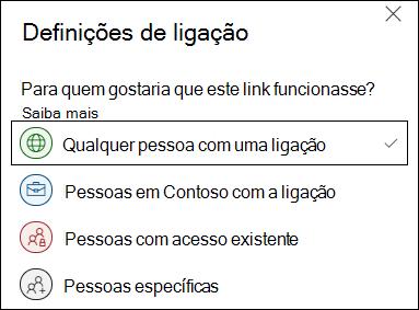 A opção de ligação OneDrive Anyone em Definições de Ligação.