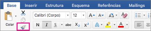 No separador Base, está realçada a opção Copiar a formatação de um local e aplicá-la noutro.
