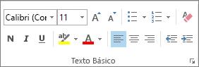 Opções no grupo Texto Básico